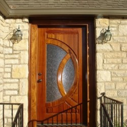 Custom Cherry Wood Exterior Door with Glass Paneling